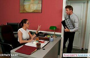 زوجان ، المتشددين ، الآسيوية ، اليابانية ، مكتب ، جوارب طويلة ، نظارات